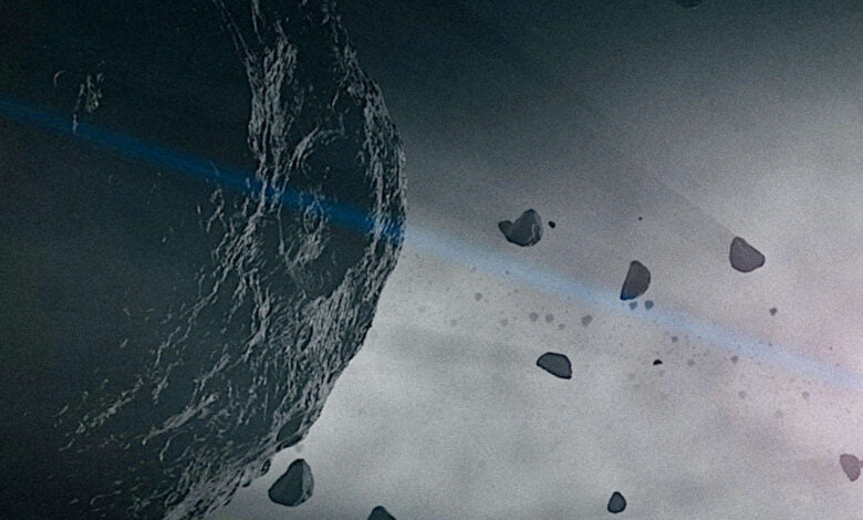 Asteroid careen through space