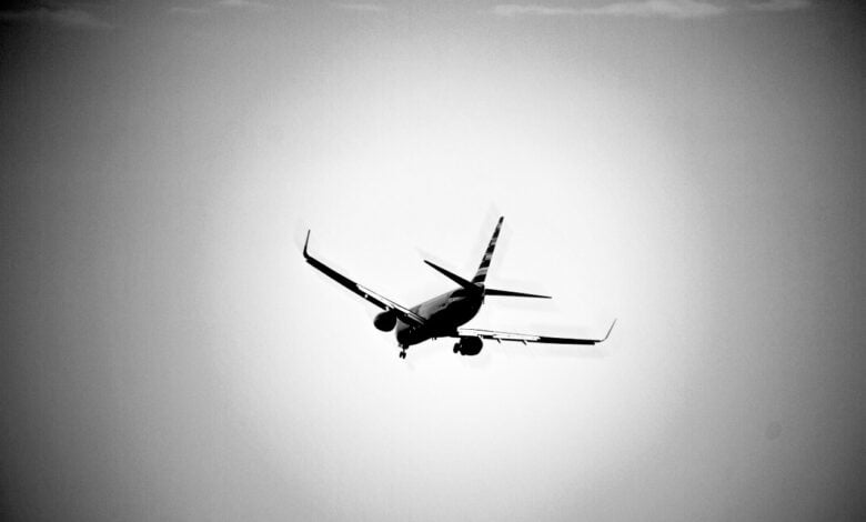 A passenger airliner takes off