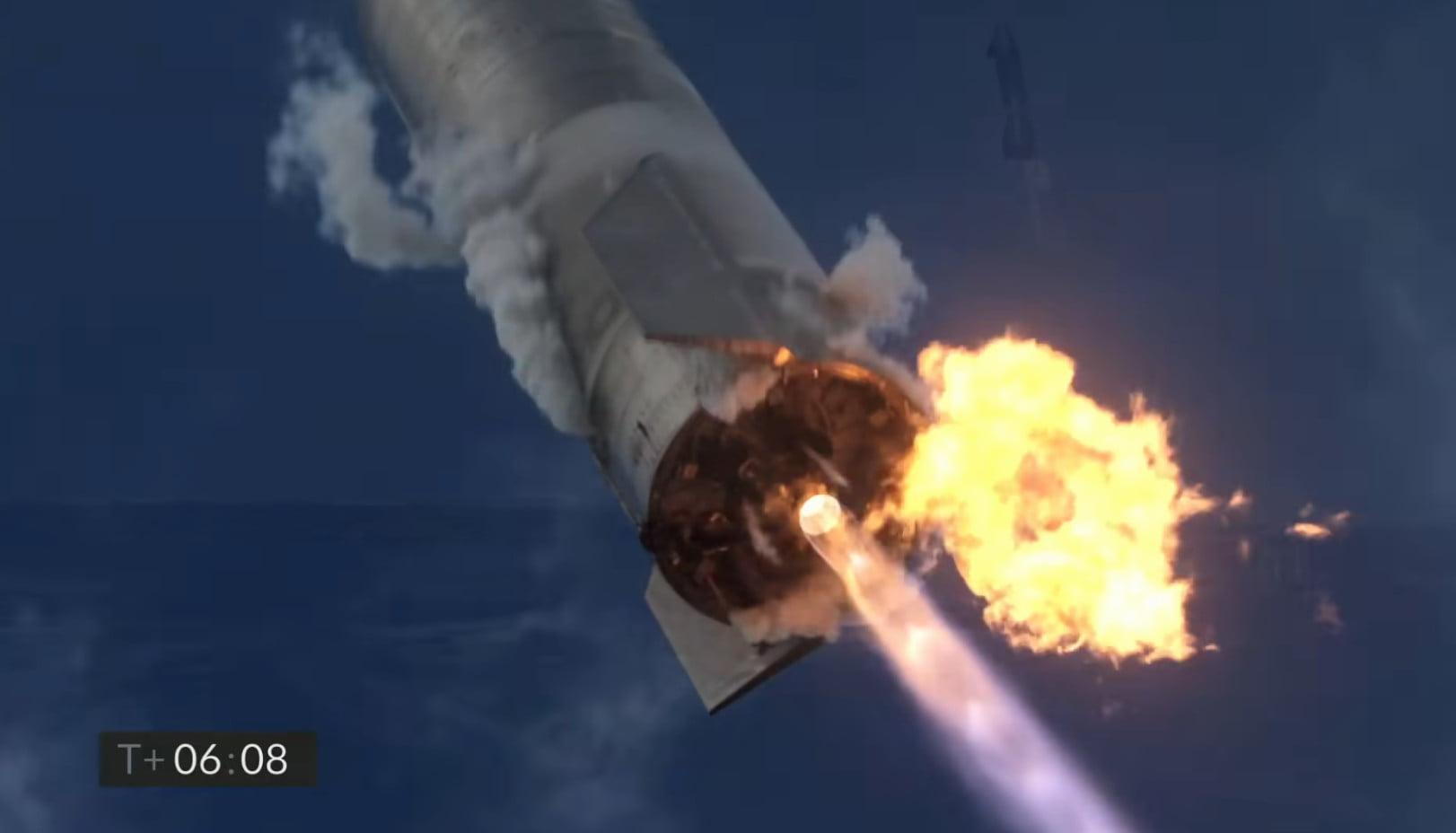 Fire at base of SN10 during landing