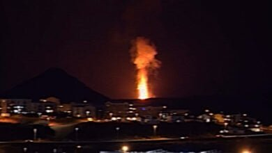 Photo of Reykjavik Volcano Lava Fountains Captured On Video from Home Balcony