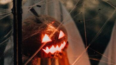 A lit up pumpkin